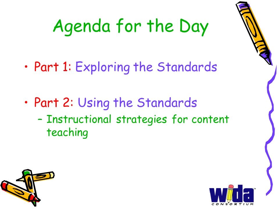 Agenda for the Day Part 1: Exploring the Standards Part 2: Using the Standards –Instructional strategies for content teaching