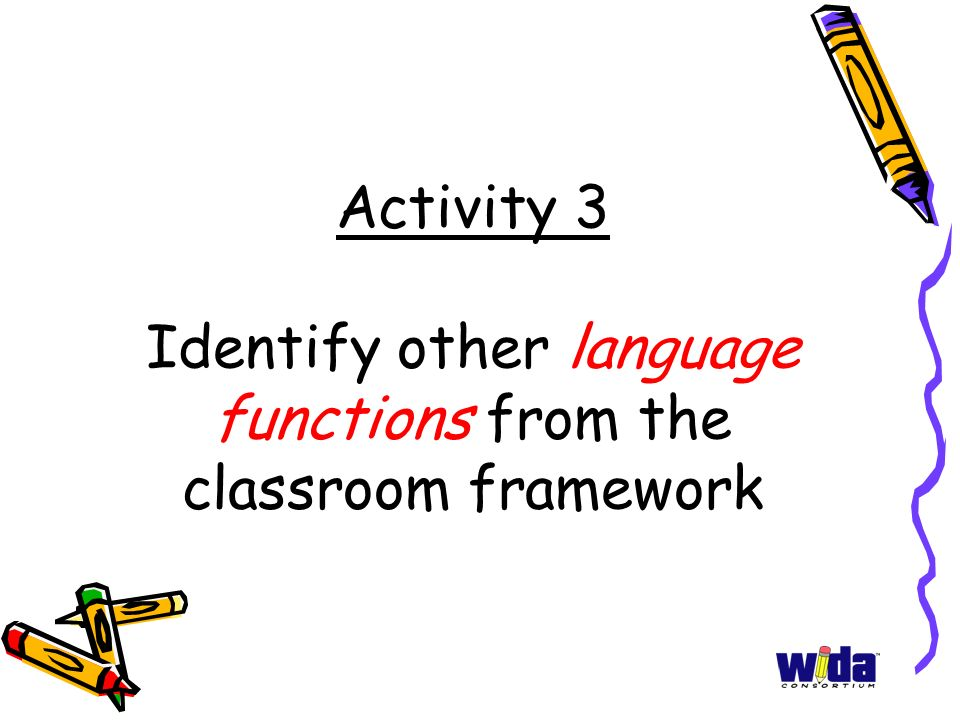 Activity 3 Identify other language functions from the classroom framework