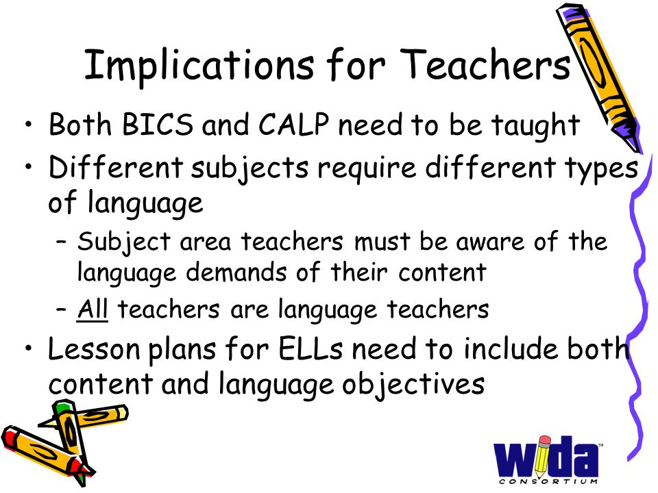 Implications for Teachers Both BICS and CALP need to be taught Different subjects require different types of language –Subject area teachers must be a