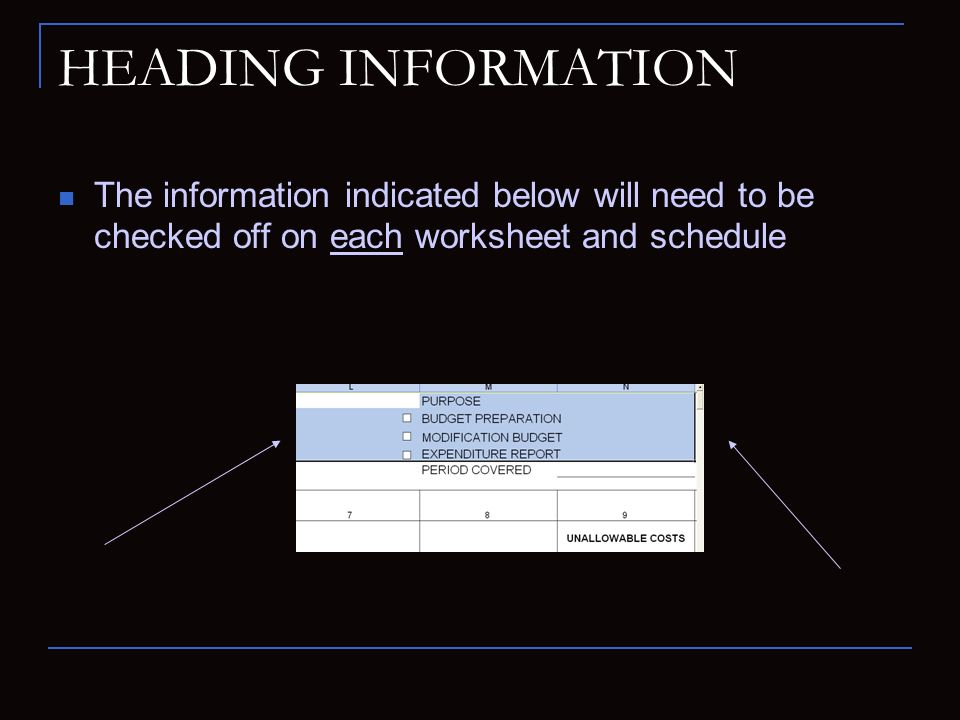 HEADING INFORMATION The information indicated below will need to be checked off on each worksheet and schedule