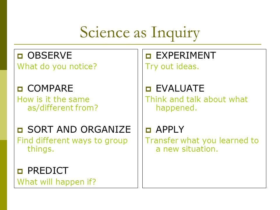 Science as Inquiry OBSERVE What do you notice. COMPARE How is it the same as/different from.