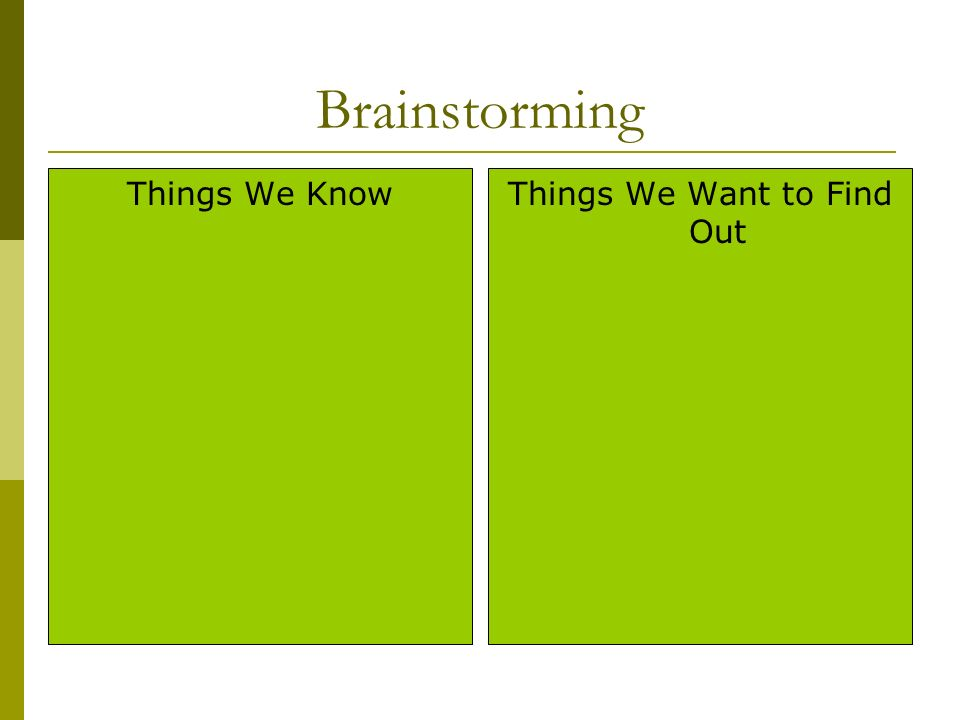 Brainstorming Things We KnowThings We Want to Find Out
