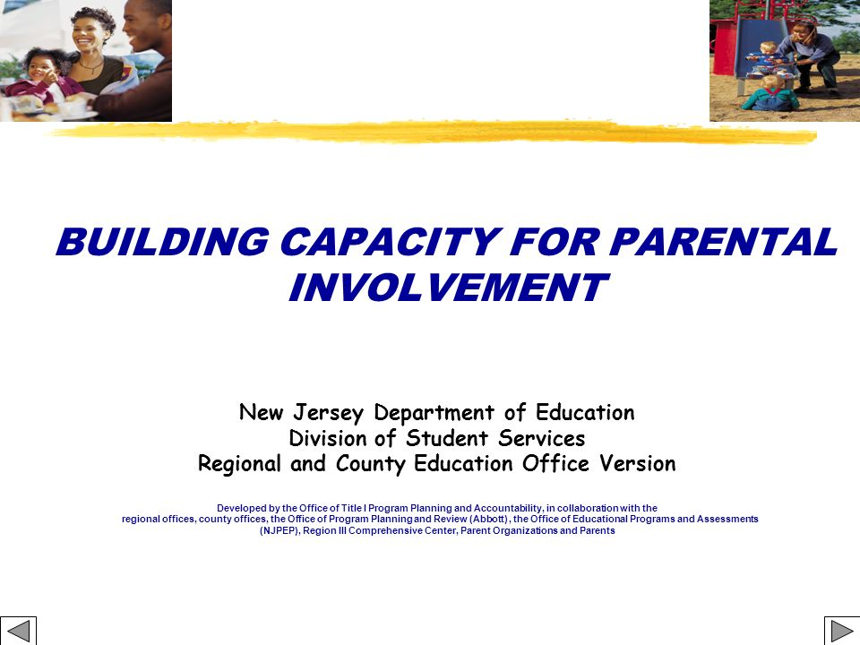 School Parental Involvement Policy The School Policy: 1.Requires schools to meet annually to inform parents of their school s participation and explain the rights of the parents 2.Offers flexible meetings 3.Involves parents in the planning, review, and improvement of programs 4.Provides parents information related to curriculum, assessment, and proficiency levels 5.Enables parents to submit comments concerning schoolwide programs