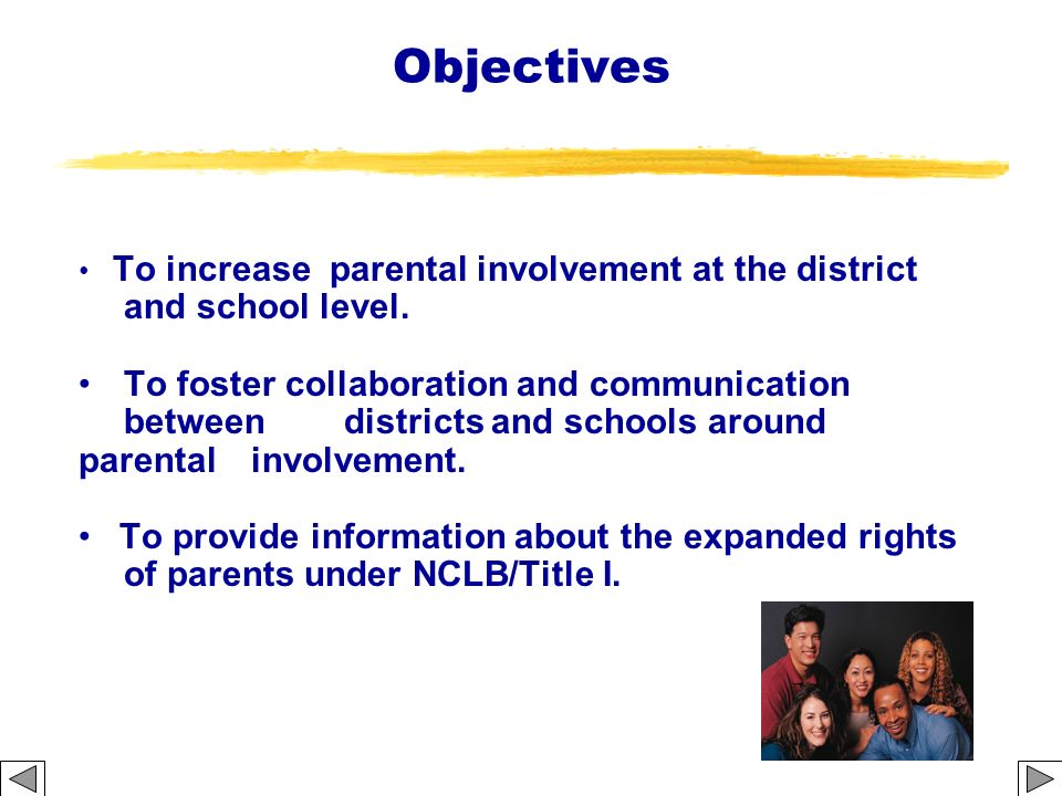 Building Capacity for Parental Involvement 14 Activities 1.