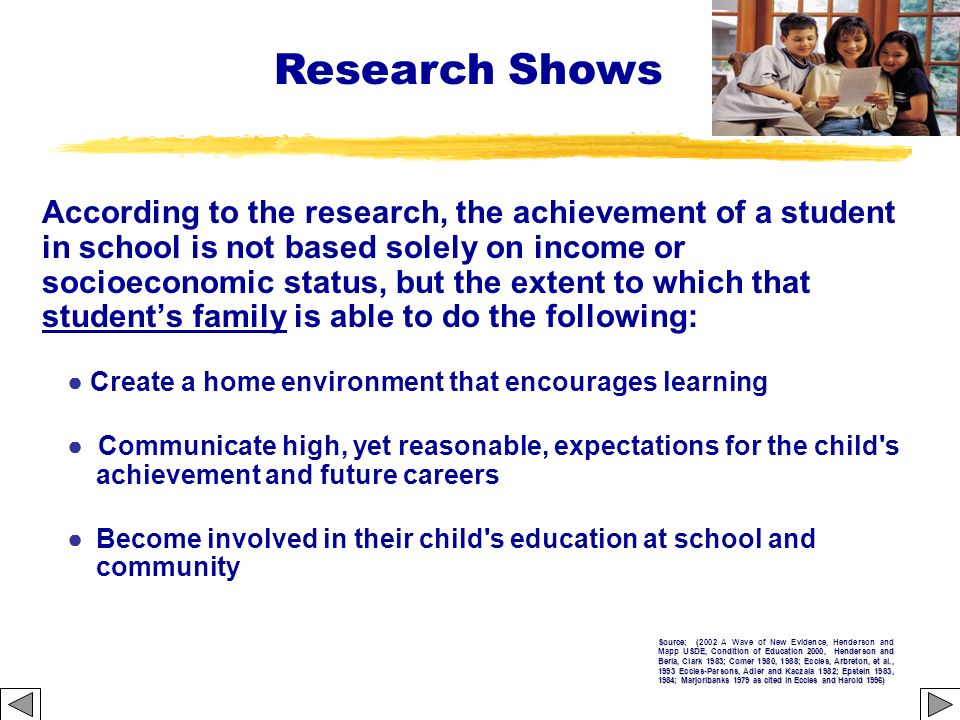 According to the research, the achievement of a student in school is not based solely on income or socioeconomic status, but the extent to which that