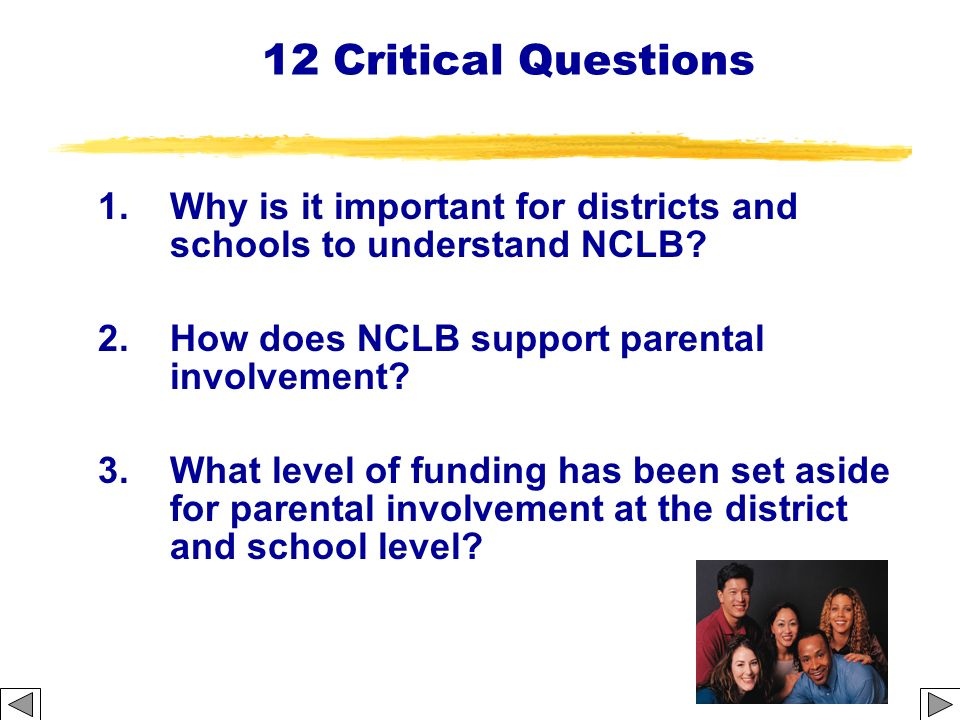 12 Critical Questions 1.Why is it important for districts and schools to understand NCLB? 2.How does NCLB support parental involvement? 3.What level o