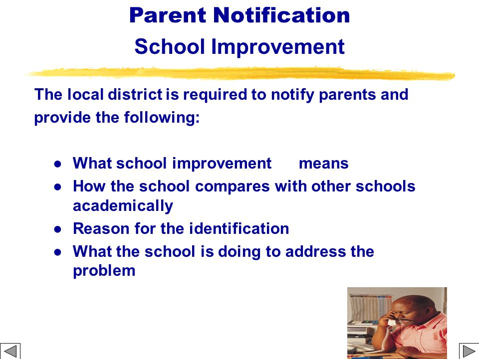 The local district is required to notify parents and provide the following: What school improvement means How the school compares with other schools a