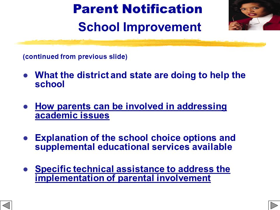 (continued from previous slide) What the district and state are doing to help the school How parents can be involved in addressing academic issues Exp