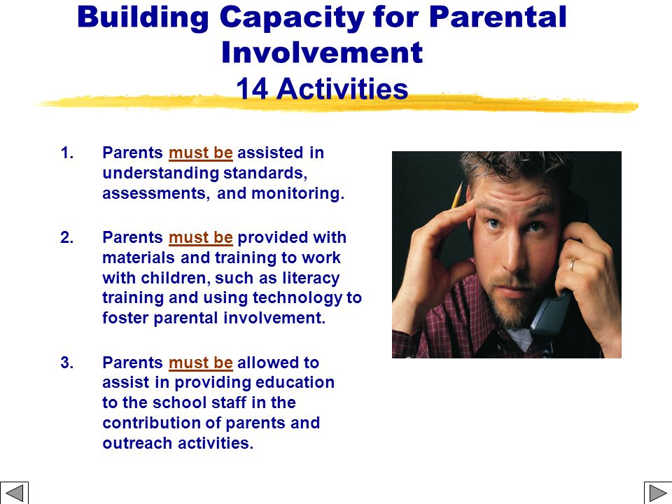 Building Capacity for Parental Involvement 14 Activities 1. Parents must be assisted in understanding standards, assessments, and monitoring. 2. Paren