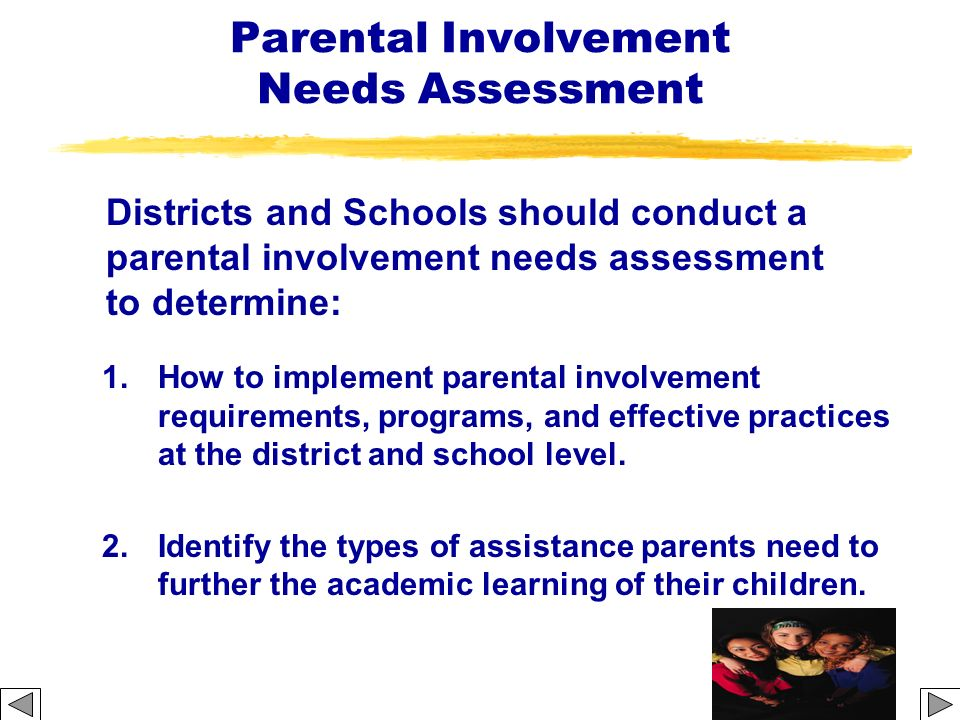 Strategies Section 1111 Districts are required to coordinate and integrate parental involvement strategies with parental involvement strategies under other programs, such as the Head Start, Reading First, Early Reading First, Even Start, Parents as Teachers, Home Instruction Program for Preschool Youngsters, and state-run preschool programs.