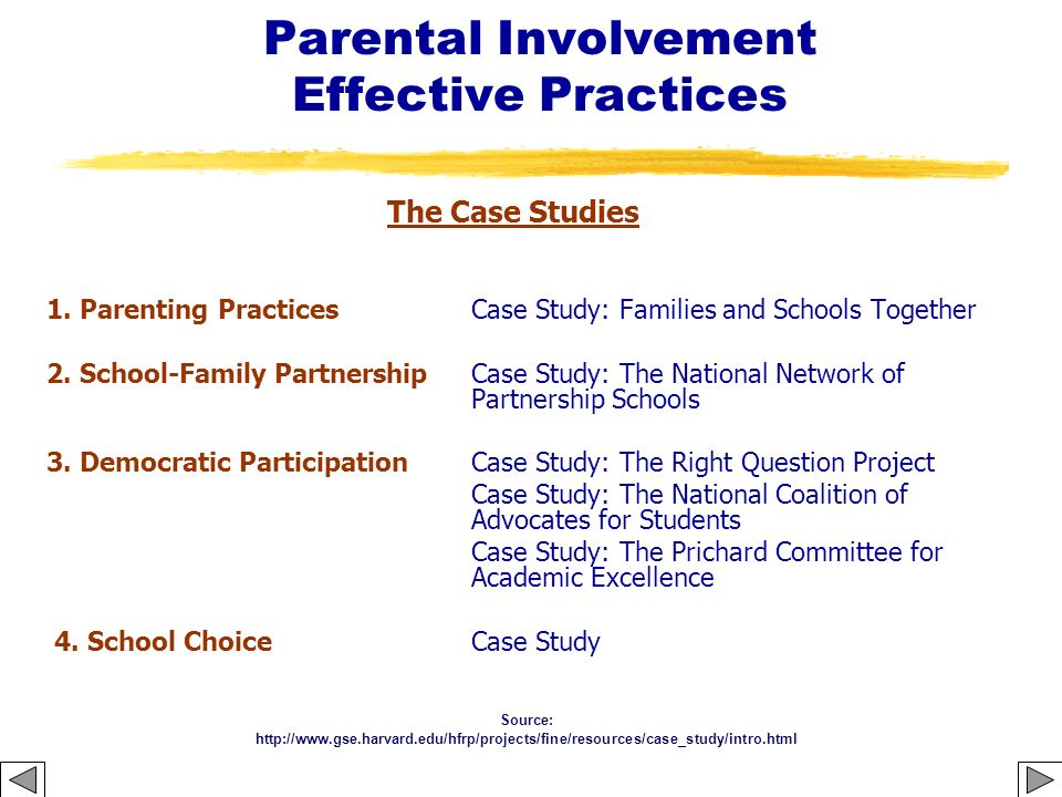 Parental Involvement Effective Practices The Case Studies 1. Parenting Practices Case Study: Families and Schools Together 2. School-Family Partnershi
