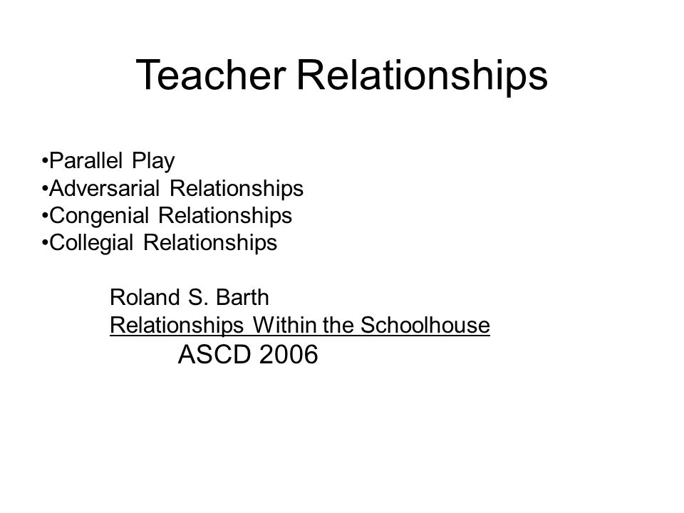 Teacher Relationships Parallel Play Adversarial Relationships Congenial Relationships Collegial Relationships Roland S.