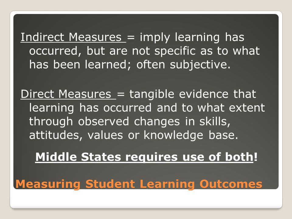 Measuring Student Learning Outcomes Direct MeasuresIndirect Measures Assignments/ExamsGrades/GPAs Papers/EssaysPersistence/Graduation Rates ProjectsSurveys (NSSE) PortfoliosAttendance Student Reflections/DiscussionsJob/Internship Placements Employers RatingsInterviews/Focus Groups Capstone projectsScores on GREs/LSAT/etc… ExhibitsHonors/Awards PresentationsParticipation Hours