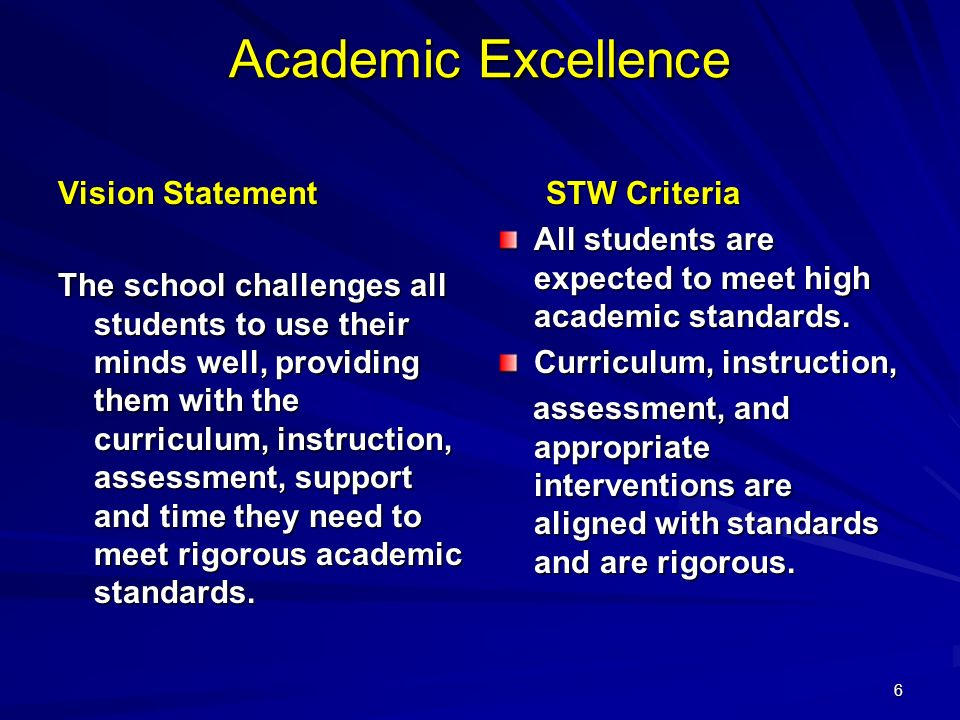 6 Academic Excellence Vision Statement The school challenges all students to use their minds well, providing them with the curriculum, instruction, assessment, support and time they need to meet rigorous academic standards.