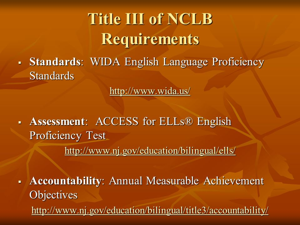 Title III of NCLB Requirements Standards: WIDA English Language Proficiency Standards Standards: WIDA English Language Proficiency Standards http://ww