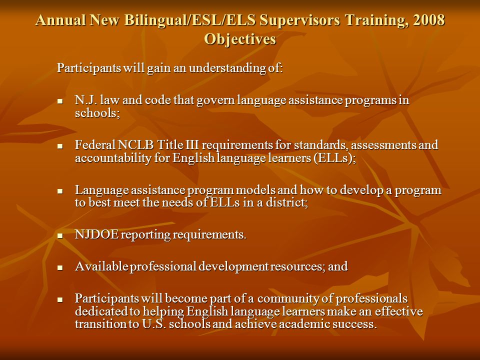 Title III of NCLB Requirements Standards: WIDA English Language Proficiency Standards Standards: WIDA English Language Proficiency Standards http://www.wida.us/ Assessment: ACCESS for ELLs® English Proficiency Test Assessment: ACCESS for ELLs® English Proficiency Test http://www.nj.gov/education/bilingual/ells/ Accountability: Annual Measurable Achievement Objectives Accountability: Annual Measurable Achievement Objectives http://www.nj.gov/education/bilingual/title3/accountability/