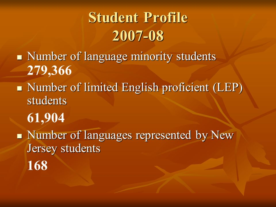 Student Profile 2007-08 Number of language minority students Number of language minority students 279,366 Number of limited English proficient (LEP) s