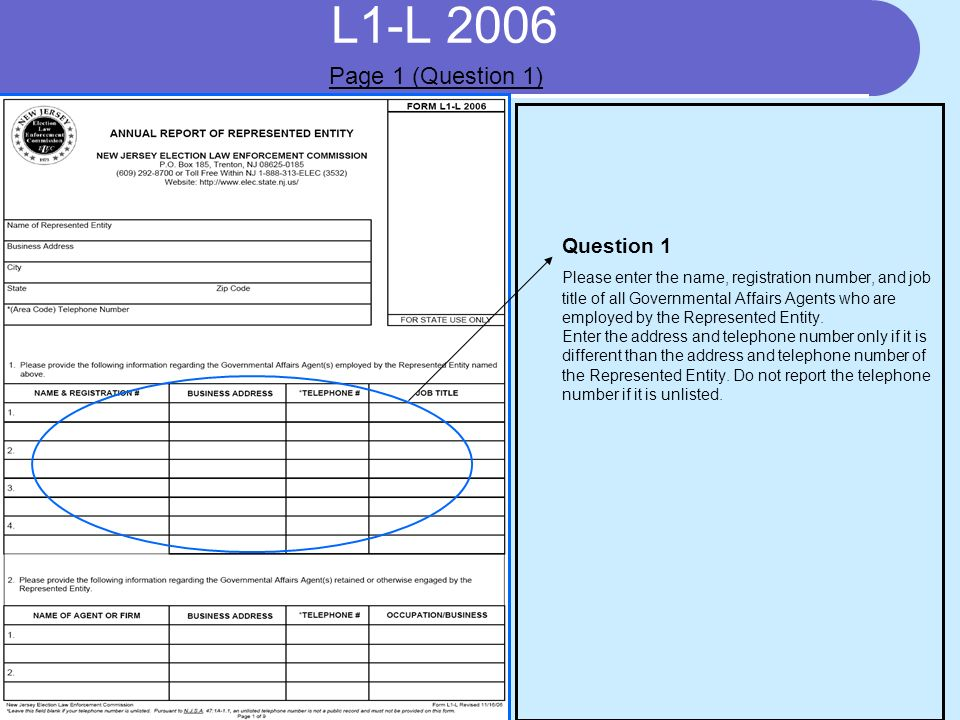 L1-L 2006 REPORTING OF RECEIPTS Receipts Tables 1 and 2 are designed to assist a Represented Entity which is a trade association, or other reporting entity formed to represent a special interest, report its receipts.