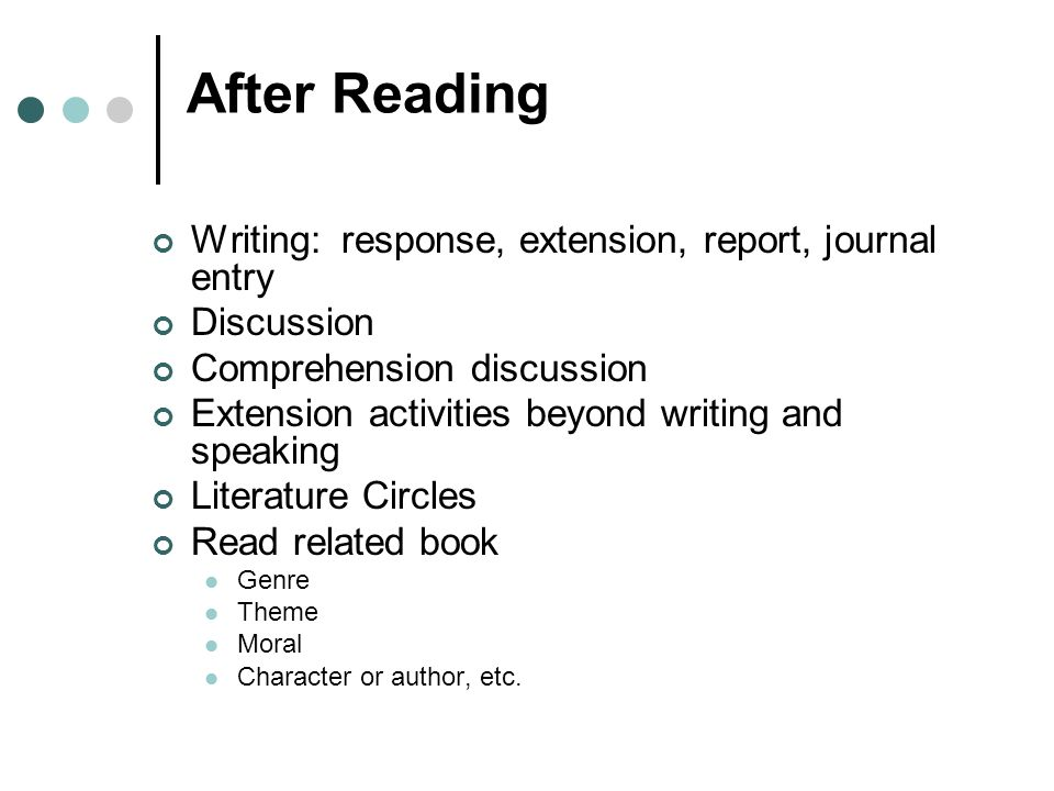 After Reading Writing: response, extension, report, journal entry Discussion Comprehension discussion Extension activities beyond writing and speaking Literature Circles Read related book Genre Theme Moral Character or author, etc.