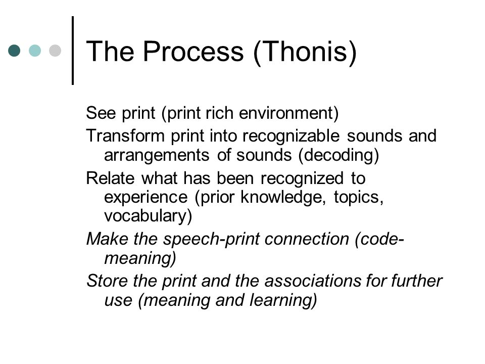 The Process (Thonis) See print (print rich environment) Transform print into recognizable sounds and arrangements of sounds (decoding) Relate what has been recognized to experience (prior knowledge, topics, vocabulary) Make the speech-print connection (code- meaning) Store the print and the associations for further use (meaning and learning)