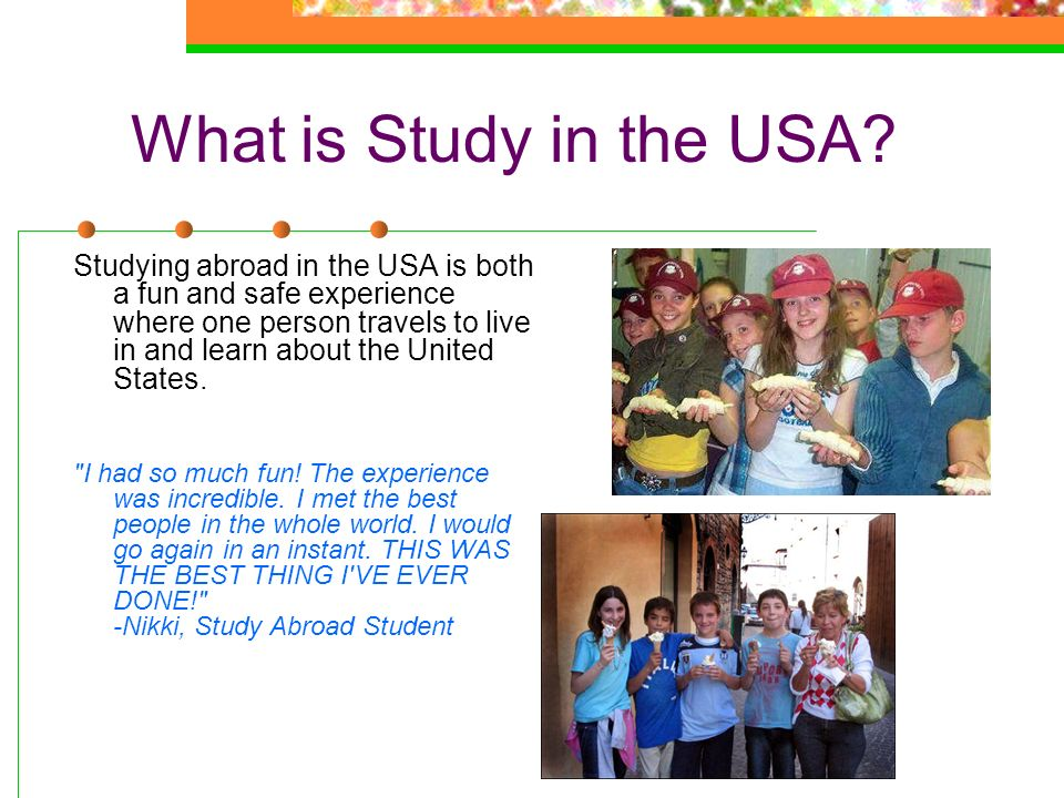 What is Study in the USA? Studying abroad in the USA is both a fun and safe experience where one person travels to live in and learn about the United