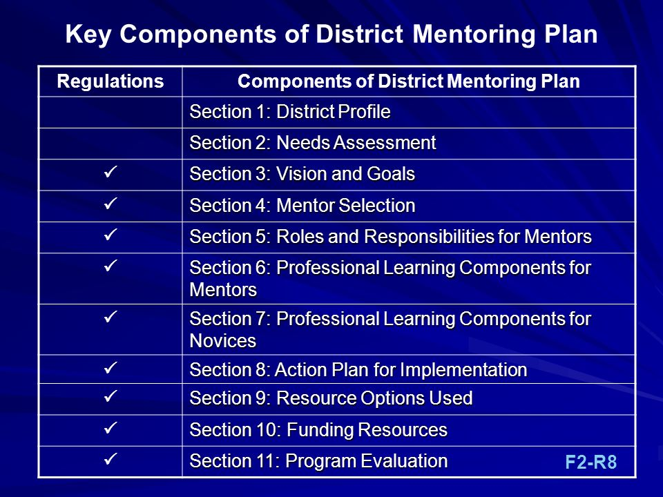 Key Components of District Mentoring Plan RegulationsComponents of District Mentoring Plan Section 1: District Profile Section 2: Needs Assessment Sec