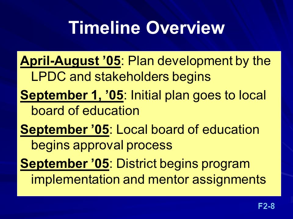 Timeline Overview April-August 05: Plan development by the LPDC and stakeholders begins September 1, 05: Initial plan goes to local board of education