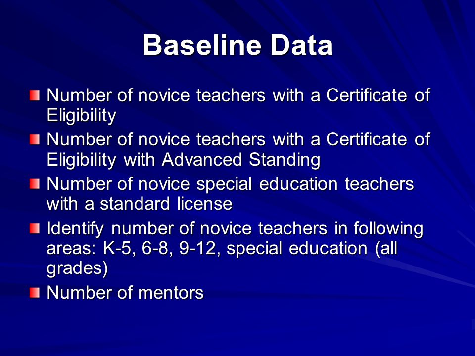 Baseline Data Number of novice teachers with a Certificate of Eligibility Number of novice teachers with a Certificate of Eligibility with Advanced St