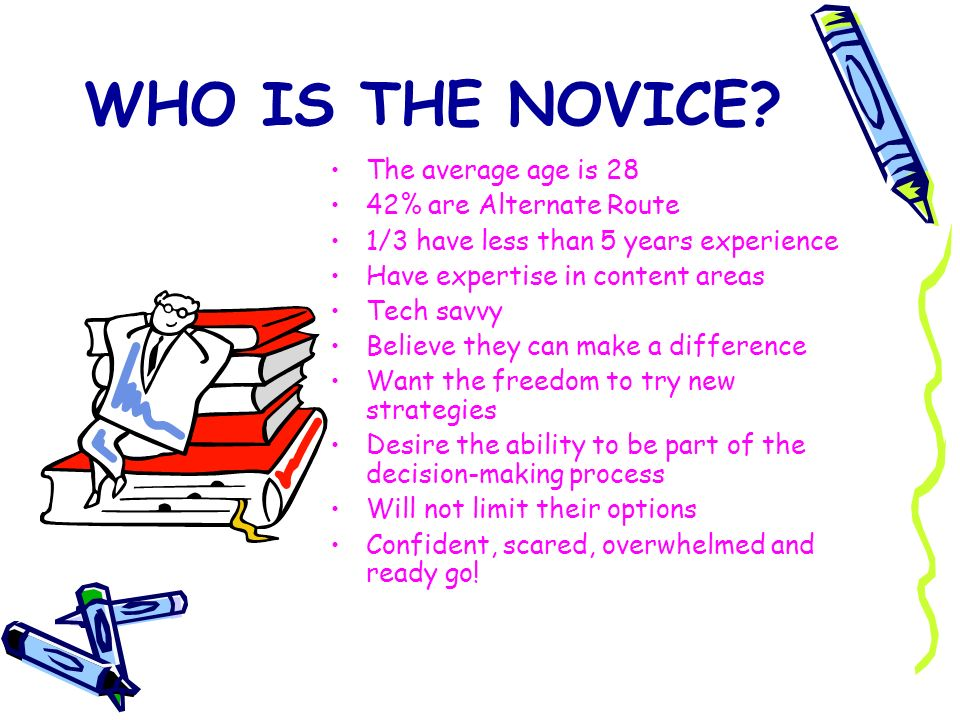 WHO IS THE NOVICE? The average age is 28 42% are Alternate Route 1/3 have less than 5 years experience Have expertise in content areas Tech savvy Beli