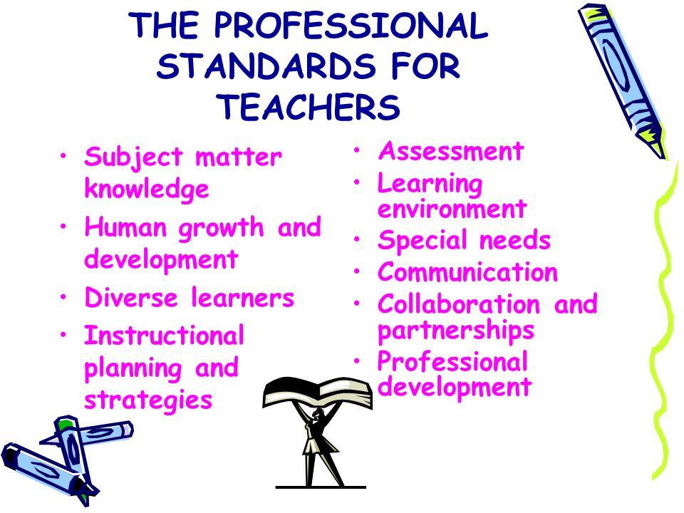 THE PROFESSIONAL STANDARDS FOR TEACHERS Subject matter knowledge Human growth and development Diverse learners Instructional planning and strategies A