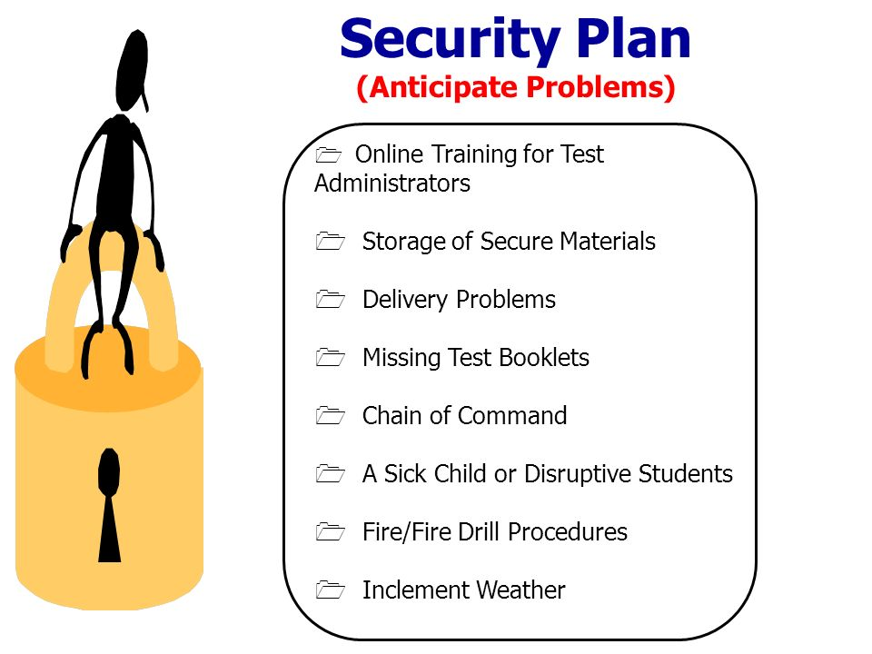 Online Training for Test Administrators Storage of Secure Materials Delivery Problems Missing Test Booklets Chain of Command A Sick Child or Disruptive Students Fire/Fire Drill Procedures Inclement Weather Security Plan (Anticipate Problems)
