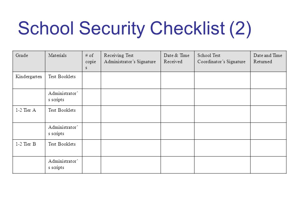 School Security Checklist (2) GradeMaterials# of copie s Receiving Test Administrators Signature Date & Time Received School Test Coordinators Signature Date and Time Returned KindergartenTest Booklets Administrator s scripts 1-2 Tier ATest Booklets Administrator s scripts 1-2 Tier BTest Booklets Administrator s scripts