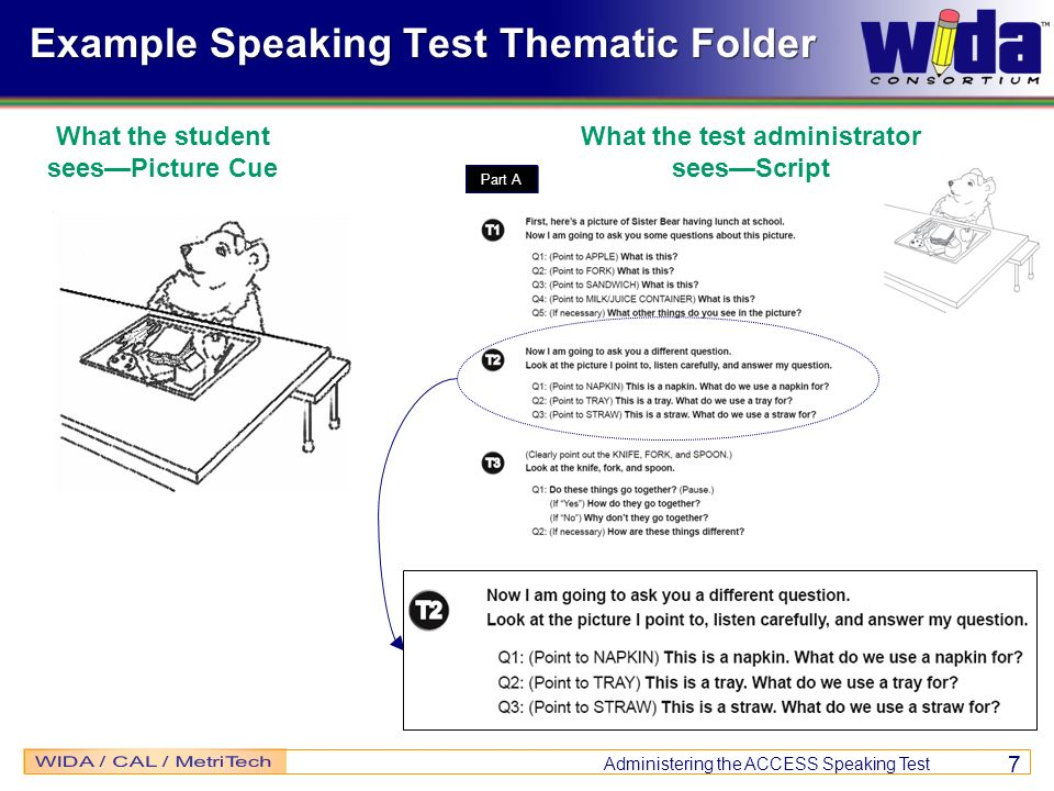 Administering the ACCESS Speaking Test 7 Part A Example Speaking Test Thematic Folder What the student seesPicture Cue What the test administrator see