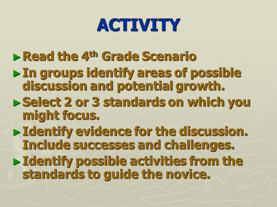 ACTIVITY Read the 4 th Grade Scenario Read the 4 th Grade Scenario In groups identify areas of possible discussion and potential growth.