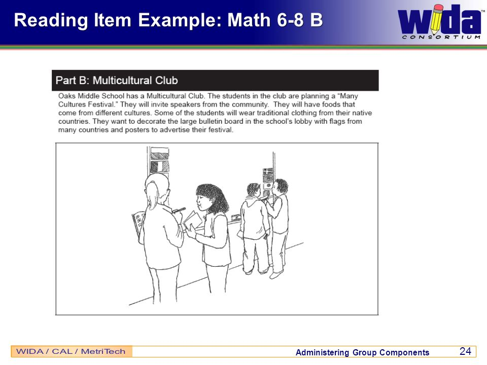 Administering Group Components 24 Reading Item Example: Math 6-8 B