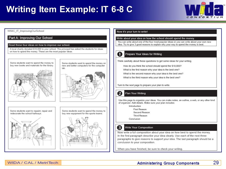 Administering Group Components 29 Writing Item Example: IT 6-8 C