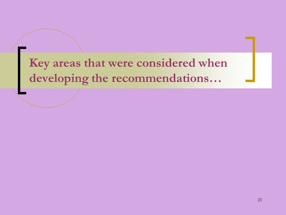 20 Key areas that were considered when developing the recommendations…