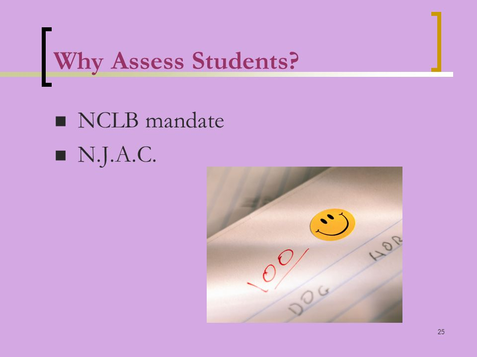 25 Why Assess Students NCLB mandate N.J.A.C.