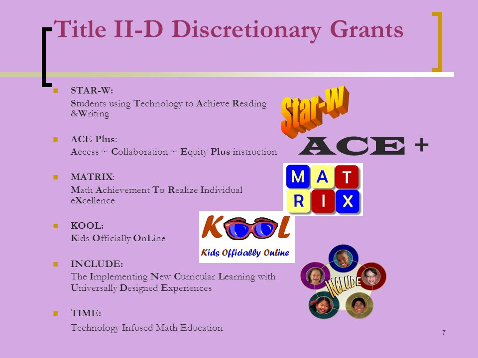7 Title II-D Discretionary Grants STAR-W: Students using Technology to Achieve Reading &Writing ACE Plus: Access ~ Collaboration ~ Equity Plus instruction MATRIX: Math Achievement To Realize Individual eXcellence KOOL: Kids Officially OnLine INCLUDE: The Implementing New Curricular Learning with Universally Designed Experiences TIME: Technology Infused Math Education ACE +