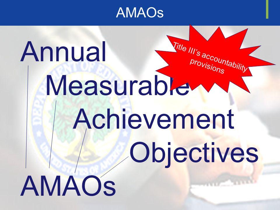 Annual Measurable Achievement Objectives AMAOs T i t l e I I I s a c c o u n t a b i l i t y p r o v i s i o n s