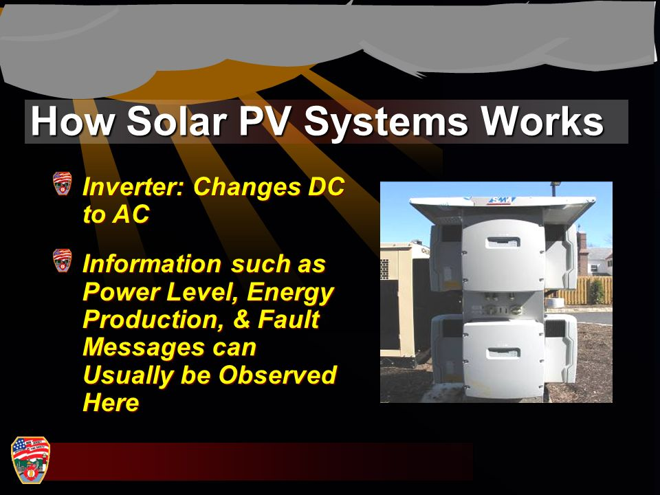 How Solar PV Systems Works Inverter: Changes DC to AC Information such as Power Level, Energy Production, & Fault Messages can Usually be Observed Her