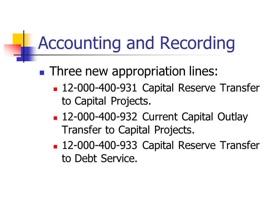 Accounting and Recording Three new appropriation lines: 12-000-400-931 Capital Reserve Transfer to Capital Projects.