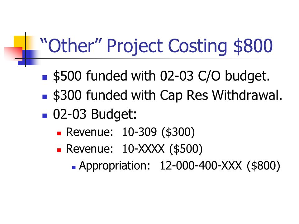Other Project Costing $800 $500 funded with 02-03 C/O budget.