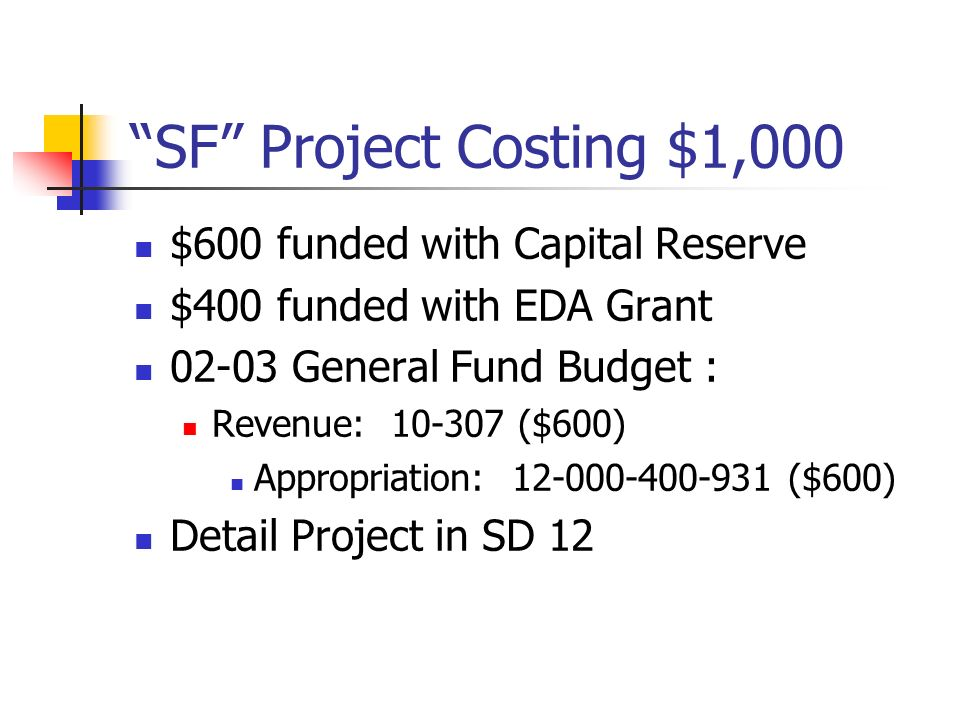 SF Project Costing $1,000 $600 funded with Capital Reserve $400 funded with EDA Grant 02-03 General Fund Budget : Revenue: 10-307 ($600) Appropriation: 12-000-400-931 ($600) Detail Project in SD 12