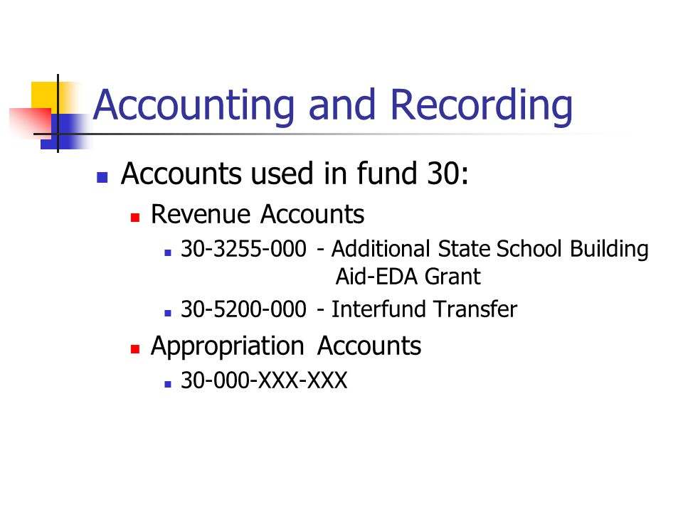 Accounting and Recording Accounts used in fund 30: Revenue Accounts 30-3255-000 - Additional State School Building Aid-EDA Grant 30-5200-000 - Interfund Transfer Appropriation Accounts 30-000-XXX-XXX
