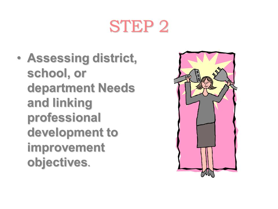 STEP 2 Assessing district, school, or department Needs and linking professional development to improvement objectives.Assessing district, school, or d