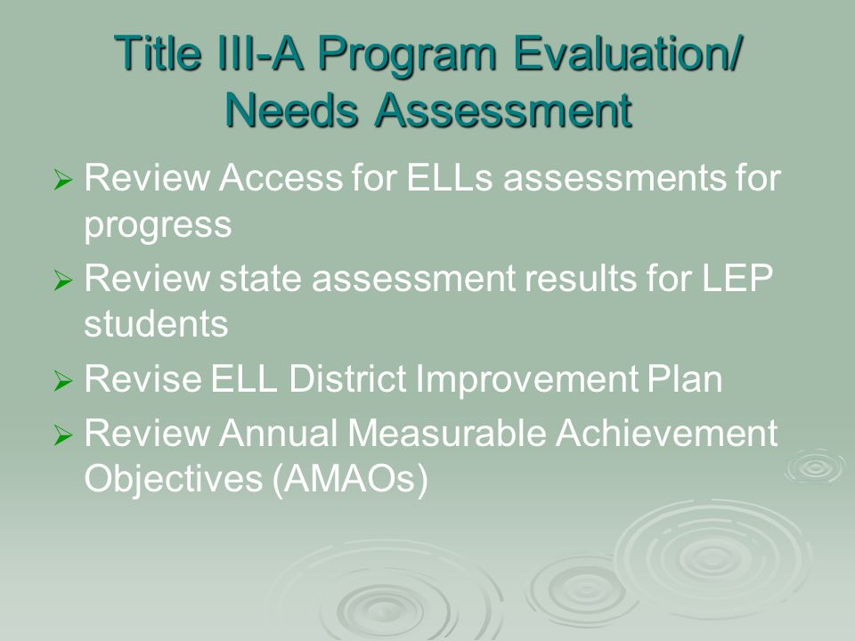 Title III-A Program Evaluation/ Needs Assessment Review Access for ELLs assessments for progress Review state assessment results for LEP students Revise ELL District Improvement Plan Review Annual Measurable Achievement Objectives (AMAOs)