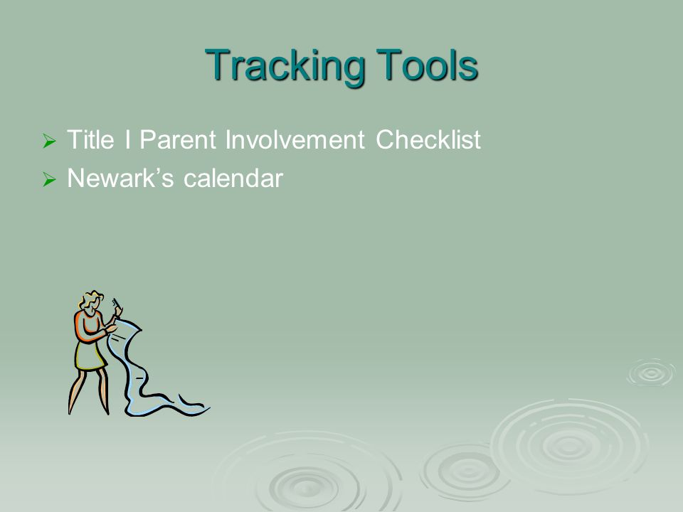 Tracking Tools Title I Parent Involvement Checklist Newarks calendar