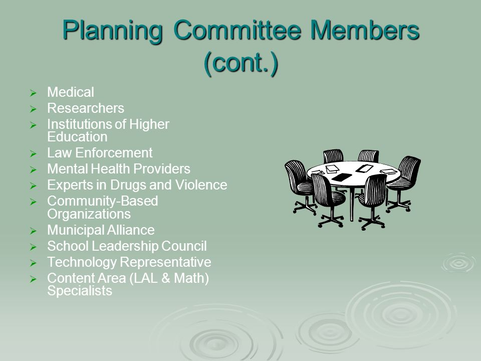 Planning Committee Members (cont.) Medical Researchers Institutions of Higher Education Law Enforcement Mental Health Providers Experts in Drugs and Violence Community-Based Organizations Municipal Alliance School Leadership Council Technology Representative Content Area (LAL & Math) Specialists