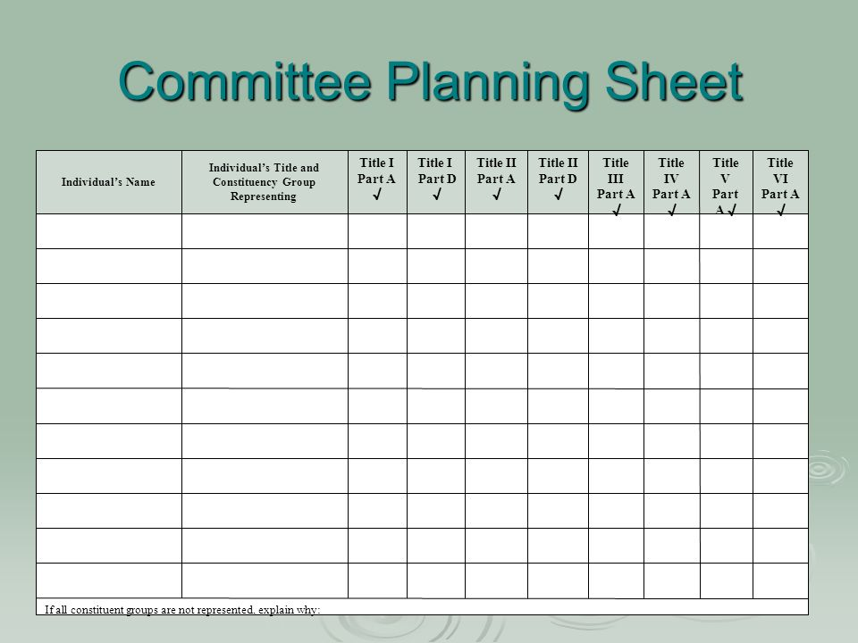 Committee Planning Sheet